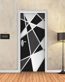 טפט תלת מימד דגם גיאומטרי שחור לבן D032